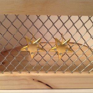 Bright Gold Tone Star Earrings